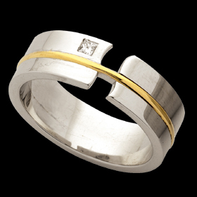 1C193 - 18ct white gold split band with 18ct gold