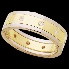 1C204 - 18ct yellow and white gold flat riveted band ring