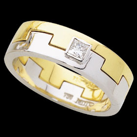 1C210 - Two piece interlocking 18ct yellow and white gold ring