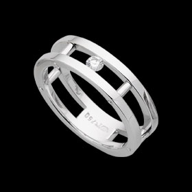 1C622 - 18ct white gold spaced riveted ring