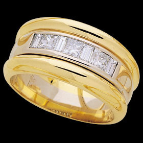 C160 - 18ct yellow and white gold channel ring