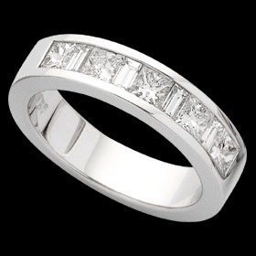 C161 - 18ct white gold channel set band ring