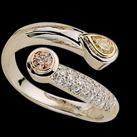 C179 Platinum, 18ct yellow and rose gold winding ring