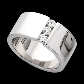 C564 - 18ct white gold wide band ring