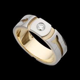 C618 - white and yellow gold patterned groove