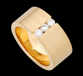 c564 - yellow gold wide emery finish ring