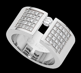 c809a - 18ct white gold wide ring