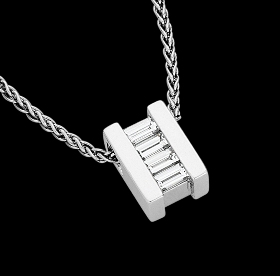 c837 - 18ct white gold bar set pendant