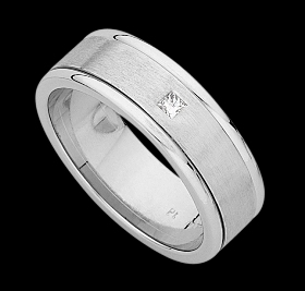 c841a - 18ct white gold flat emery finish