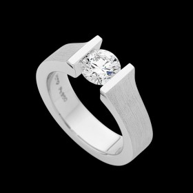 C957 Platinum tension set diamond ring